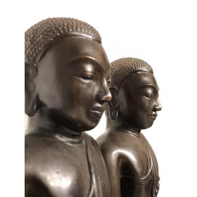 Worshipers Bronze Pair Burma, Shan Province.