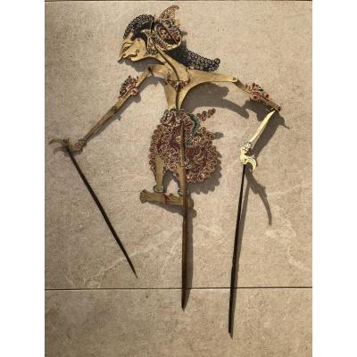 Theartre d'Ombre De Bali , Marionnette Cuir Decoupé , Bali Indonesie ,