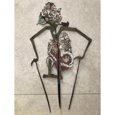 Theartre d'Ombre De Bali , Marionnette Cuir Decoupé  Et Corne Buffle , Bali Indonesie ,