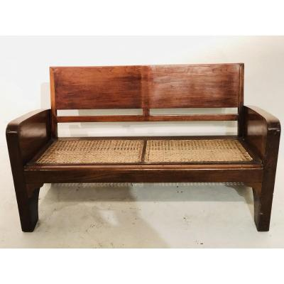 4 Colonial Teak Benches Cannage Burma 1930