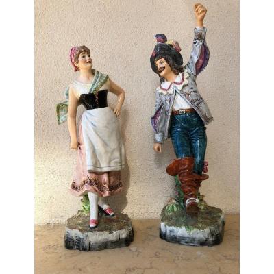 Paire De Statuettes Porcelaine Fabrication Allemande