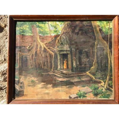 Peinture Angkor Sur Toile Periode Coloniale