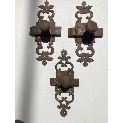 Lot De Targette Wrought Ironwork, 18th Century, France