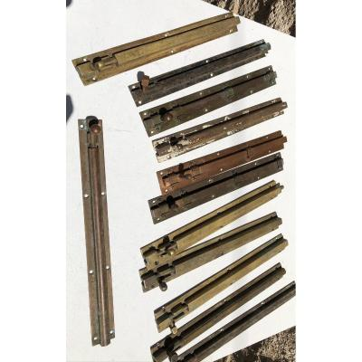 Lot Of 12 English Colonial Brass Targette For Doors And Windows, Burma.