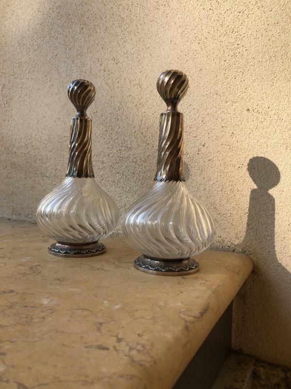 Paire De Carafes Cristal Et Argent , XIX é Siecle -photo-2
