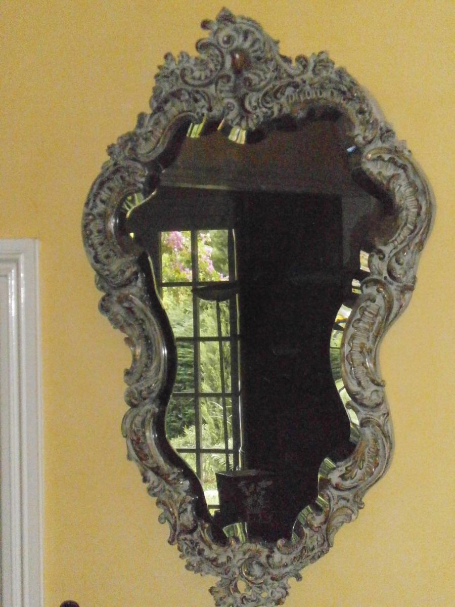 Miroir Peint Et Doré Epoque 19eme