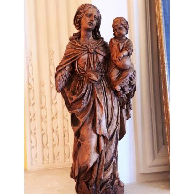 Virgin And Child In Natural Wood 18th Century