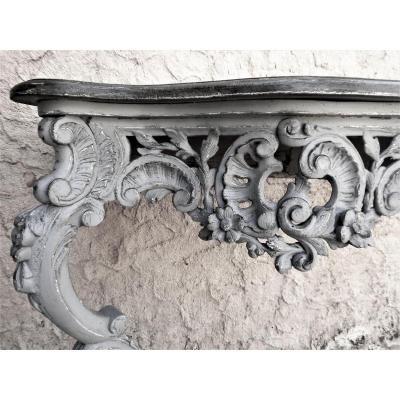 Console Louis XV Bois Peint Gris époque fin 18°