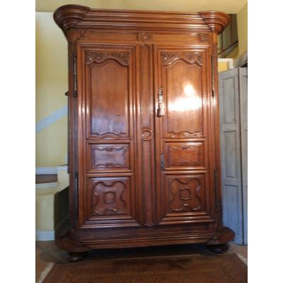 Cabinet Louis XIV Regency In Walnut Blond 18th Century