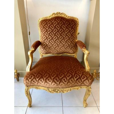 Louis XV Armchair In Golden Wood