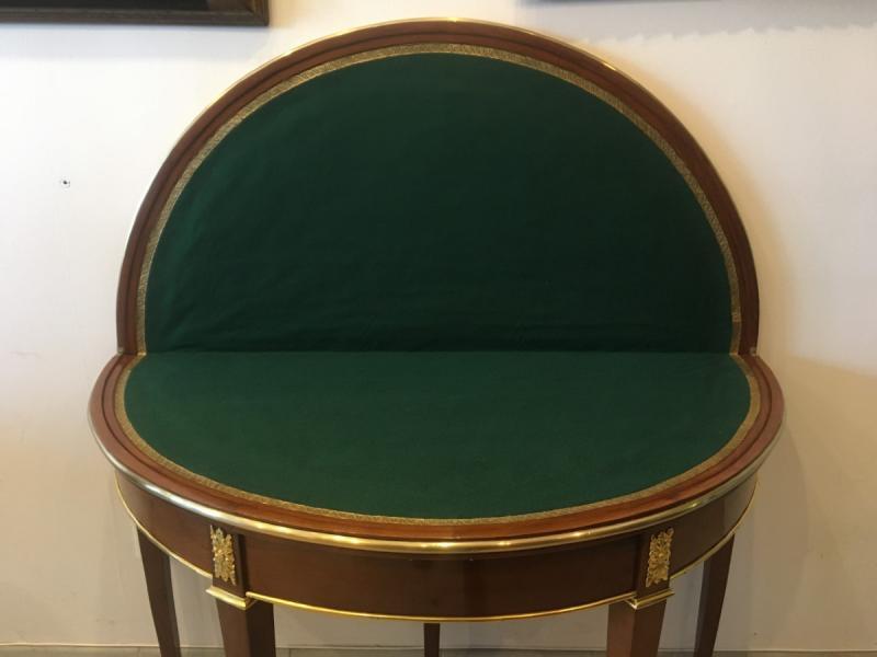 Table à jeu demie-lune époque Directoire - Empire, XIXème siècle-photo-2