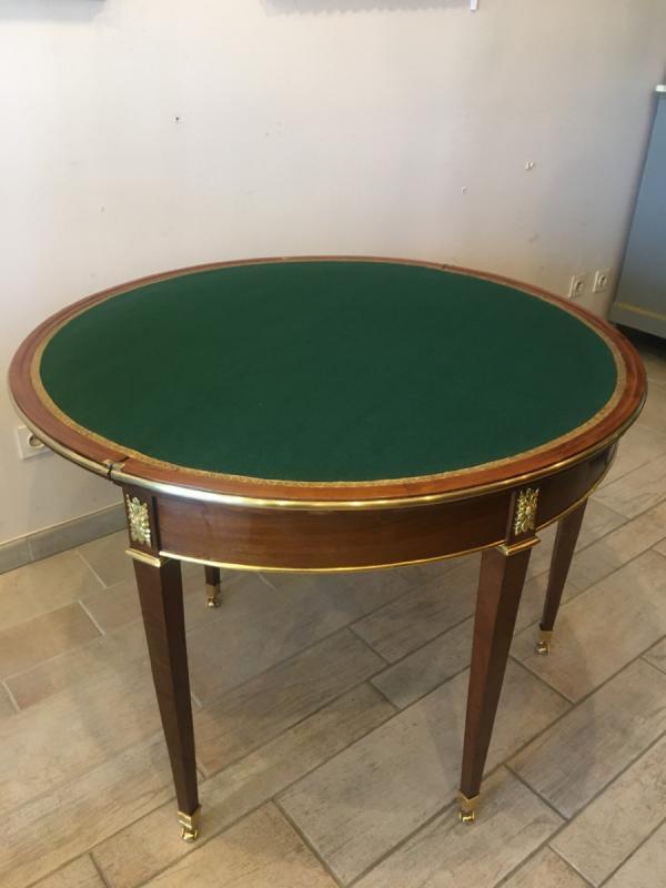 Table à jeu demie-lune époque Directoire - Empire, XIXème siècle-photo-3