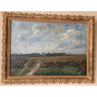 Paysage des Landes, huile sur toile H. Renard Brault encadrée