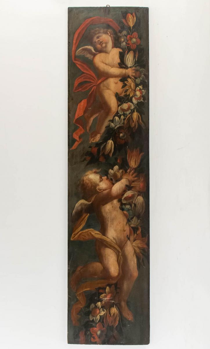 Panneau De Boiserie Peint Fin XVIIème