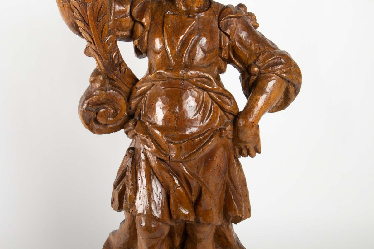 Ange Céroféraire En Bois De Tilleul Sculpté XVIIème H.75cm