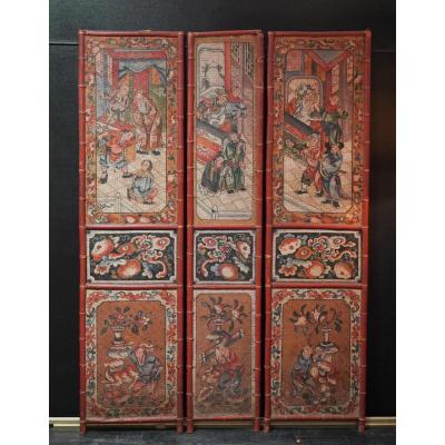Panneaux De Paravent En Bambou Tressé Et Peints. Chine XIXème