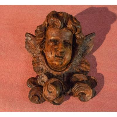 Carved Wood Angel Head