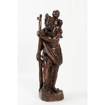 Bois Sculpté Représentant Saint-christophe XVIIIème