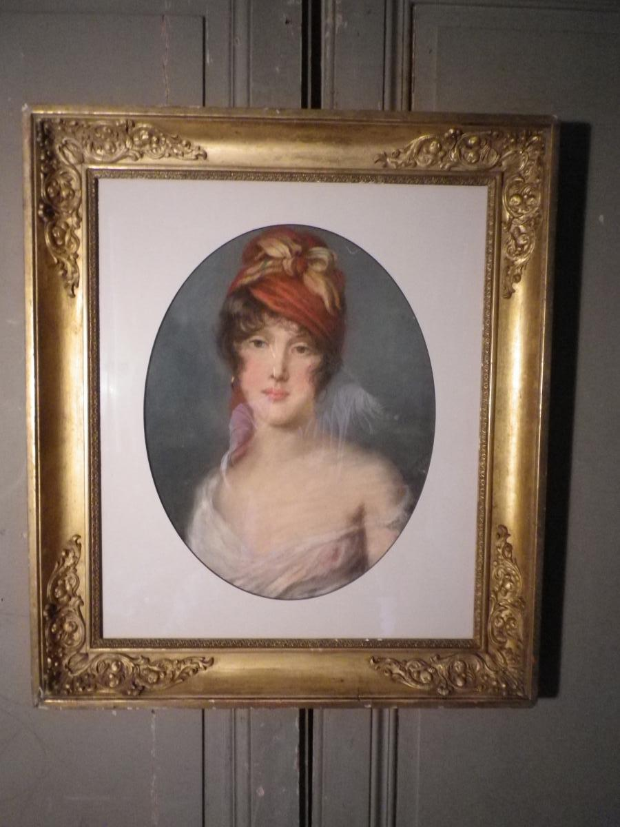 Pastel Début XIX ème , Portrait De Jeune Femme