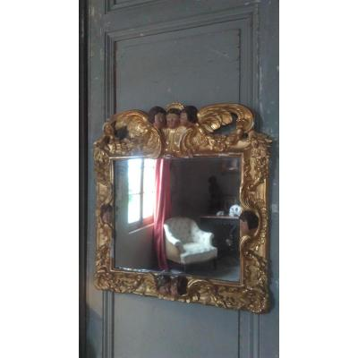 18 Th Century Mirror With Angels Decor Pélerins