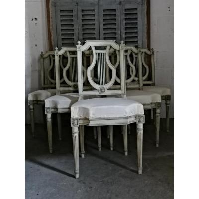 Suite De 6 Chaises Lyre De Style Louis XVI