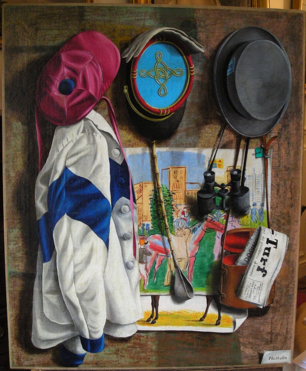 Trompe l'oeil d'un amateur de courses hippiques par Lucien Mathelin