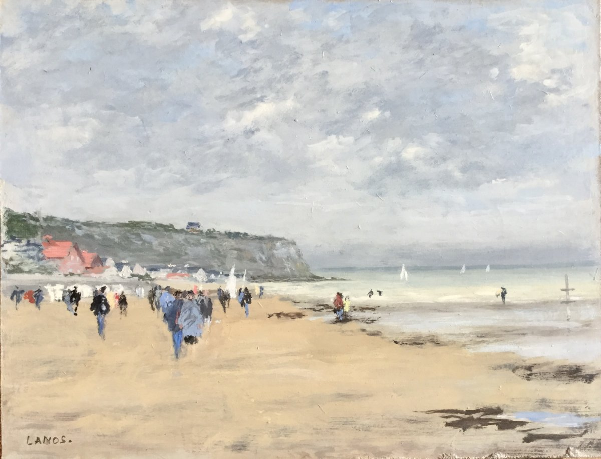 Beach Scene In Normandy By François Lanos