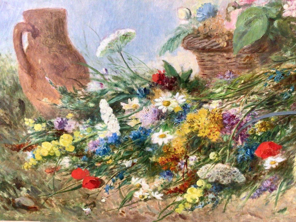Fleurs des champs et panier de fruits par Alexandre Couder (1808-1879)-photo-3