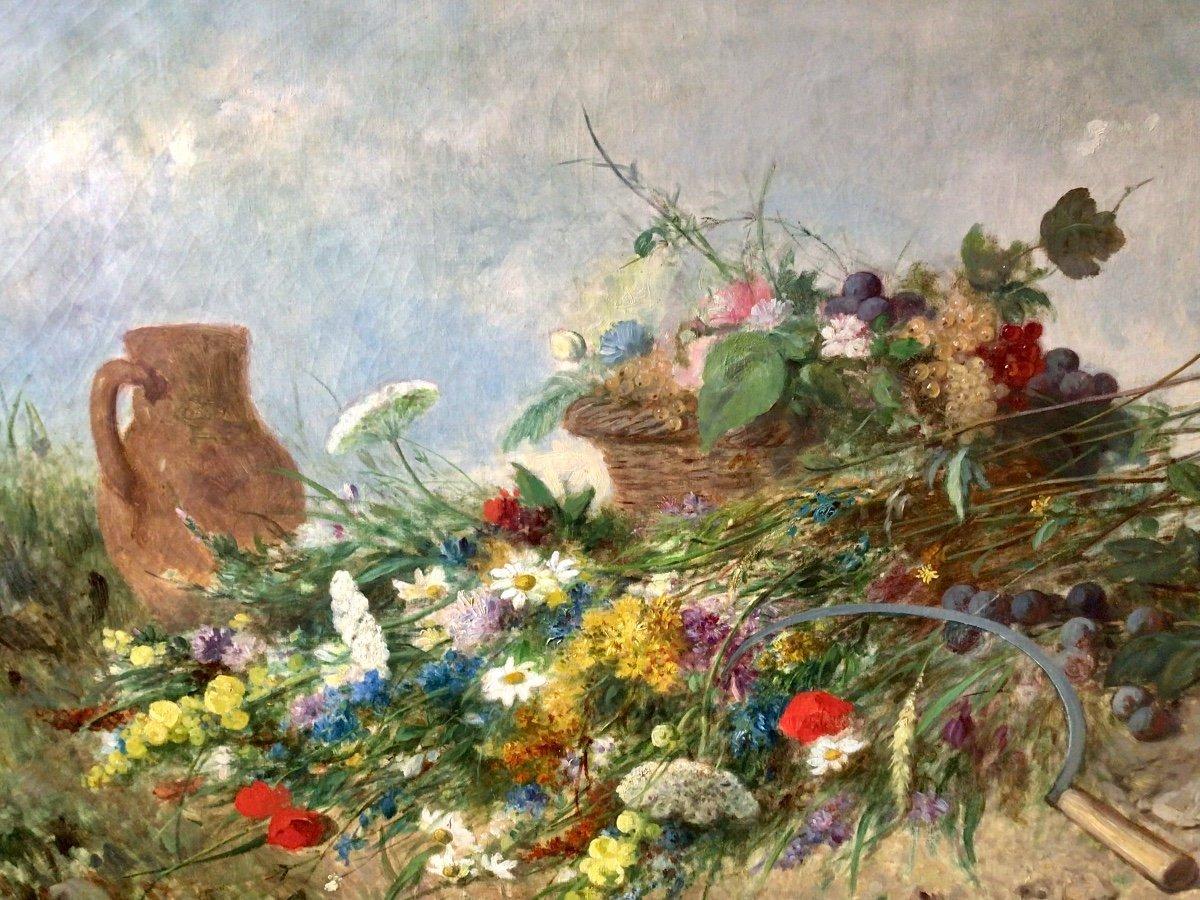 Fleurs des champs et panier de fruits par Alexandre Couder (1808-1879)-photo-1