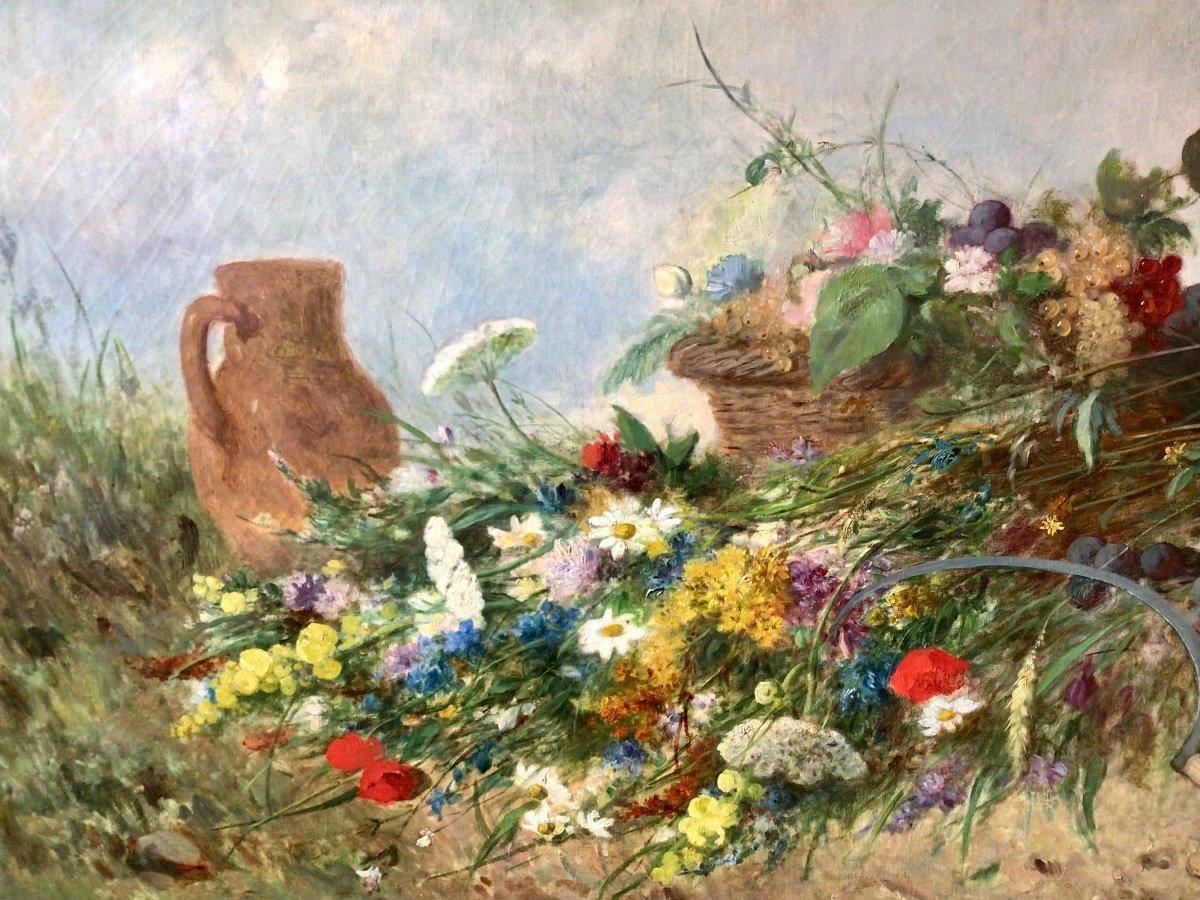 Fleurs des champs et panier de fruits par Alexandre Couder (1808-1879)-photo-2