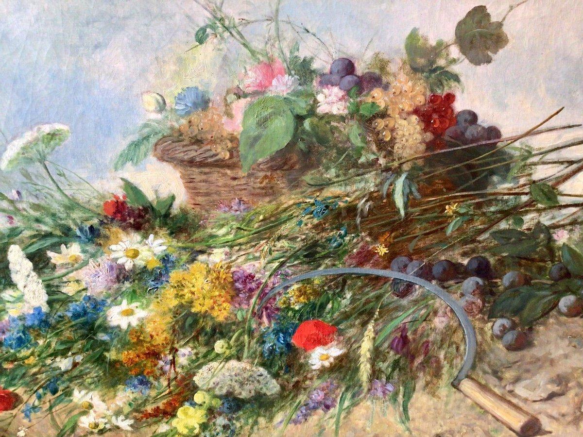 Fleurs des champs et panier de fruits par Alexandre Couder (1808-1879)-photo-4