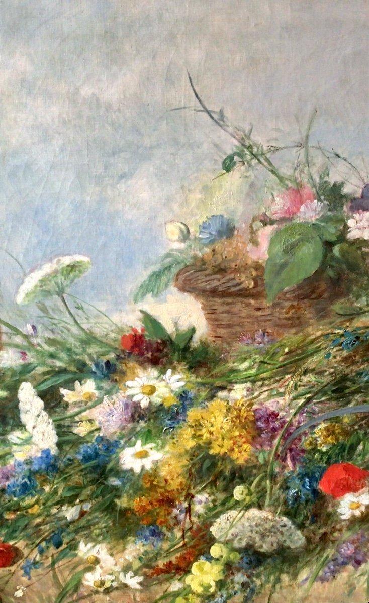 Fleurs des champs et panier de fruits par Alexandre Couder (1808-1879)-photo-5