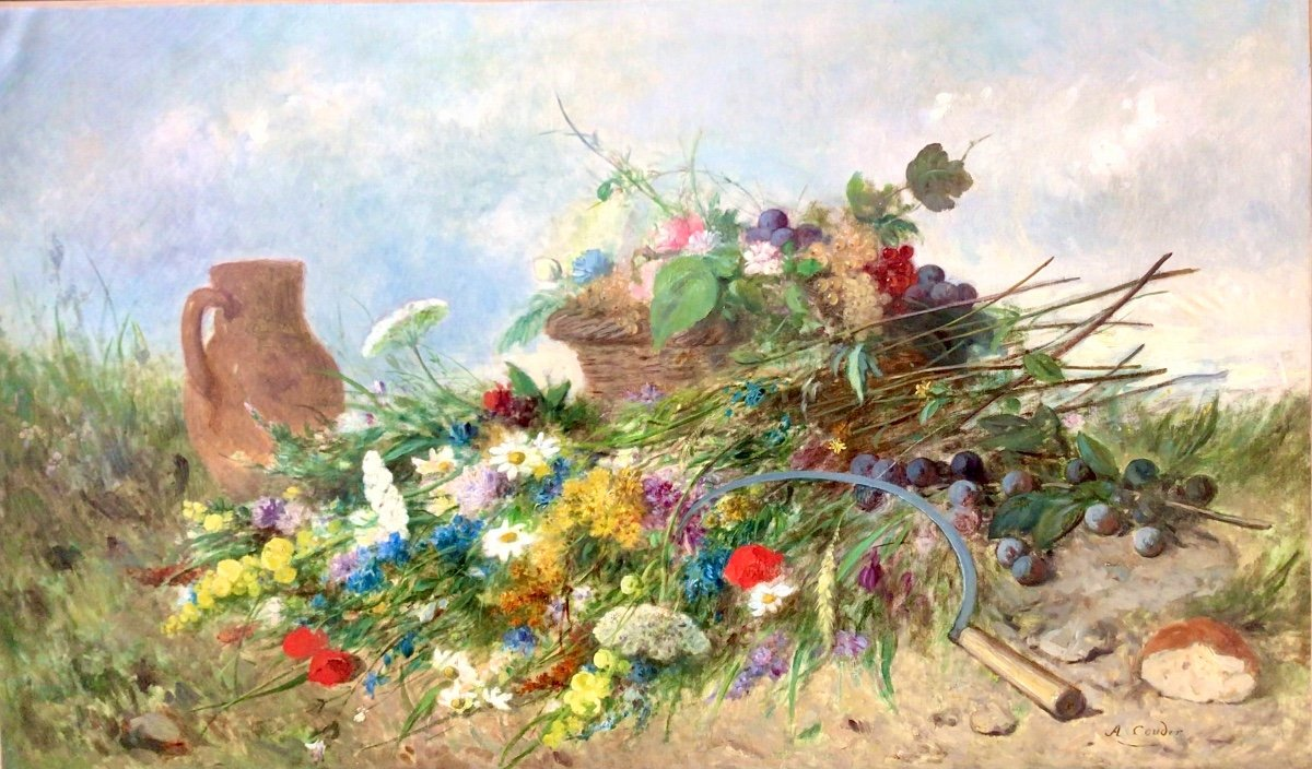 Fleurs des champs et panier de fruits par Alexandre Couder (1808-1879)