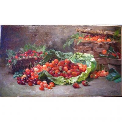 Nature morte aux cerises et aux fraises par Henri Saintin