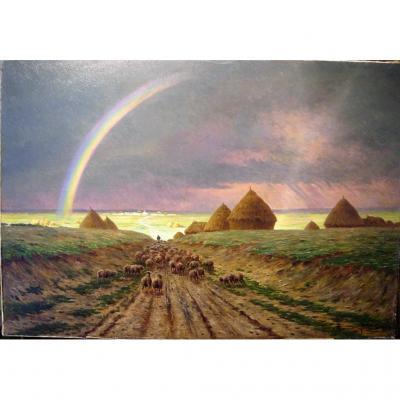 Le retour du troupeau sous l'arc-en-ciel par A. Guéry
