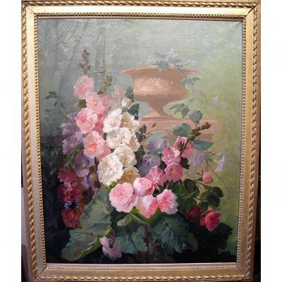 Roses trémières dans un parc par Jacob Petit