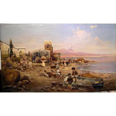 Une plage animée près du Vésuve par Robert Alott