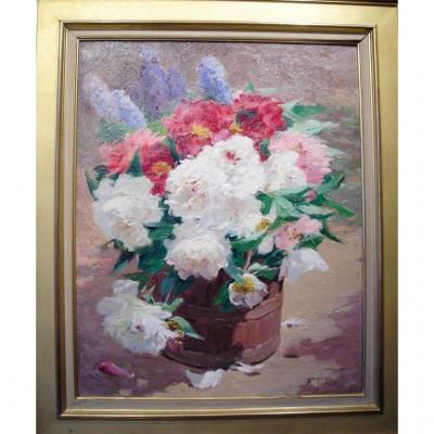 Bouquet de pivoines par Ernest Romanet