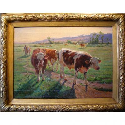 Les vaches au pâturage par Amable Bouillier