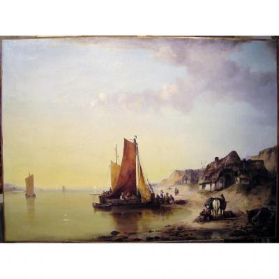 Bord de mer animé par Ludwig Hermann (1812-1881)