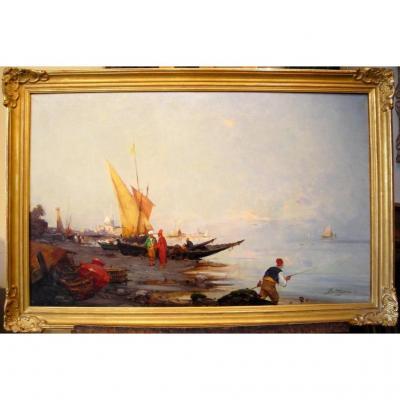 Pêcheurs sur les bords du Bosphore par Paul Bistagne