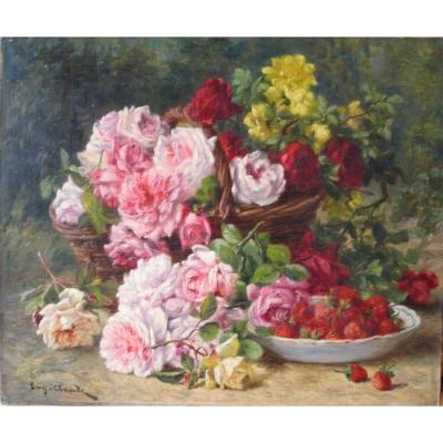 Nature morte aux fleurs et aux fraises par Eugène Claude