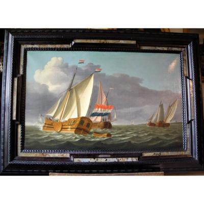 Marine hollandaise du 18e siècle par Ary van Wanum (1735-1781)