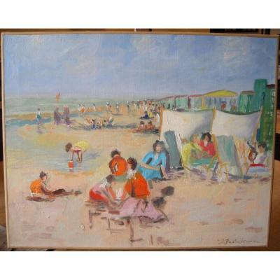 Scène de plage à La Panne par J. Brasilier