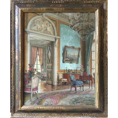 Intérieur de salon par Léonce de Joncières