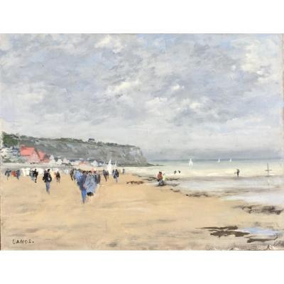 Scène de plage en Normandie par François Lanos