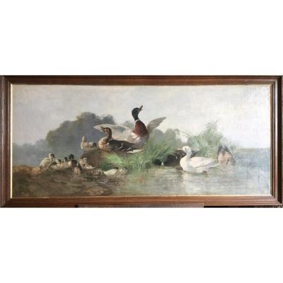 Les canards au bord de l'eau par Jacques Alfred Brielman