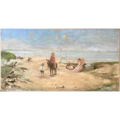 Scène de plage vers 1900