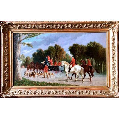 Le départ de la chasse à courre par Henri Brunelli (Deuxième moitié du 19e siècle)
