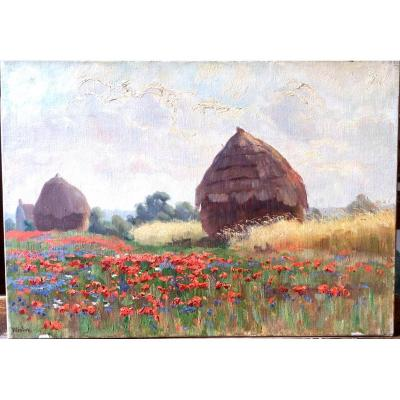 Haystacks And Poppies By Charles Wislin (1852–1932)